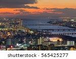Sunset Over Osaka City And...