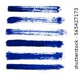 blue vector strokes of paint on ... | Shutterstock .eps vector #565427173