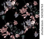 Stock photo watercolor painting of leaf and flowers seamless pattern on dark background 565428763