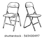 two folding chairs on a white... | Shutterstock .eps vector #565430497