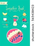 smoothie bowl recipe. breakfast ... | Shutterstock .eps vector #565438423