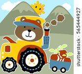 little bear riding a tractor...   Shutterstock .eps vector #565444927