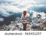 woman traveler on mountain... | Shutterstock . vector #565451257