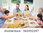 smiling multi generation family ... | Shutterstock . vector #565452247