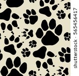 seamless paw print. | Shutterstock .eps vector #565456417
