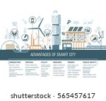 smart city vector illustration... | Shutterstock .eps vector #565457617