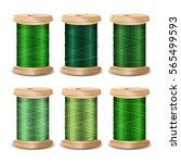 thread spool set. bright old... | Shutterstock .eps vector #565499593