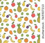 fruits pineapple banana apple... | Shutterstock .eps vector #565507213