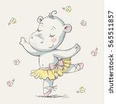 cute hippo ballerina dancing...   Shutterstock .eps vector #565511857