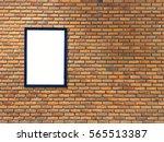 Small photo of empty advert frames on brick wall