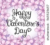 happy valentines day card with... | Shutterstock . vector #565525657