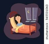 girl on the bed at night   Shutterstock .eps vector #565531063