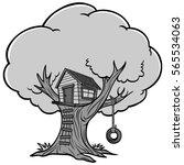 tree house illustration | Shutterstock .eps vector #565534063