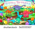 happy birthday card with funny... | Shutterstock .eps vector #565555507