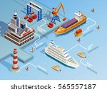 sea port isometric infographics ... | Shutterstock .eps vector #565557187