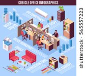 cubicle office infographics... | Shutterstock .eps vector #565557223