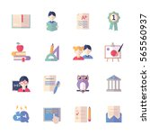 education icons set 2   flat... | Shutterstock .eps vector #565560937