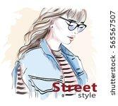 stylish hand drawn girl in...   Shutterstock .eps vector #565567507