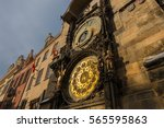 prague astronomical clock in... | Shutterstock . vector #565595863