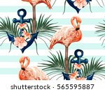 beautiful seamless vector... | Shutterstock .eps vector #565595887