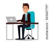 businessman working in computer | Shutterstock .eps vector #565607797