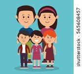 cute family members group | Shutterstock .eps vector #565608457