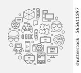 round geek illustration. vector ... | Shutterstock .eps vector #565611397