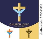 church logo. christian symbols. ... | Shutterstock .eps vector #565643353