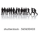 group people stand in line... | Shutterstock .eps vector #565650433