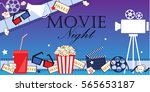 cinema event background. flat... | Shutterstock .eps vector #565653187