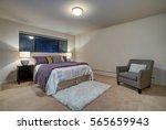 Peach Bedroom Interior With...