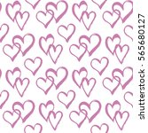 seamless pattern with hearts.... | Shutterstock .eps vector #565680127