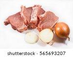 Four Fresh Raw Pork Steaks Wit...