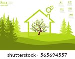 the tree inside the house on... | Shutterstock .eps vector #565694557