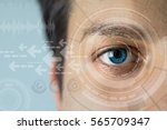 young man's eye and technology... | Shutterstock . vector #565709347