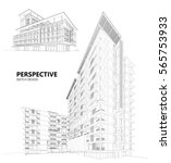3d wireframe of building.... | Shutterstock .eps vector #565753933