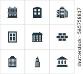 set of 9 simple structure icons.... | Shutterstock .eps vector #565758817