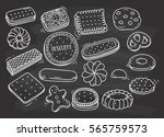 set of biscuit doodle on... | Shutterstock .eps vector #565759573