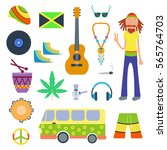 rastafarian icons set in flat... | Shutterstock .eps vector #565764703