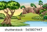 Scene with trees by the pond illustration