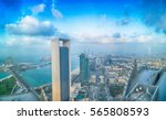 Small photo of ABU DHABI, UAE - DECEMBER 8, 2016: Panoramic sunset city skyline. Abu Dhabi attracts 10 million people annually.