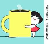 monday morning hug a mug mood... | Shutterstock .eps vector #565823557