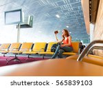 young girl waiting for... | Shutterstock . vector #565839103