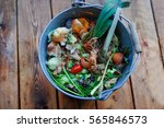 bucket of organic waste on... | Shutterstock . vector #565846573