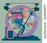 bass guitarist rock band member ... | Shutterstock .eps vector #565848997