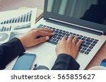 close up of woman hands using... | Shutterstock . vector #565855627