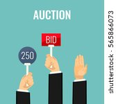 auction meeting and hands... | Shutterstock .eps vector #565866073