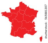red map of france | Shutterstock .eps vector #565881307