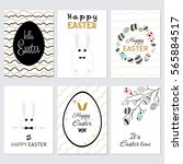 vector set of happy easter... | Shutterstock .eps vector #565884517