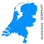 blue map of netherlands | Shutterstock .eps vector #565895197